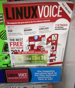 Linux Voice issue 1 on a shelf