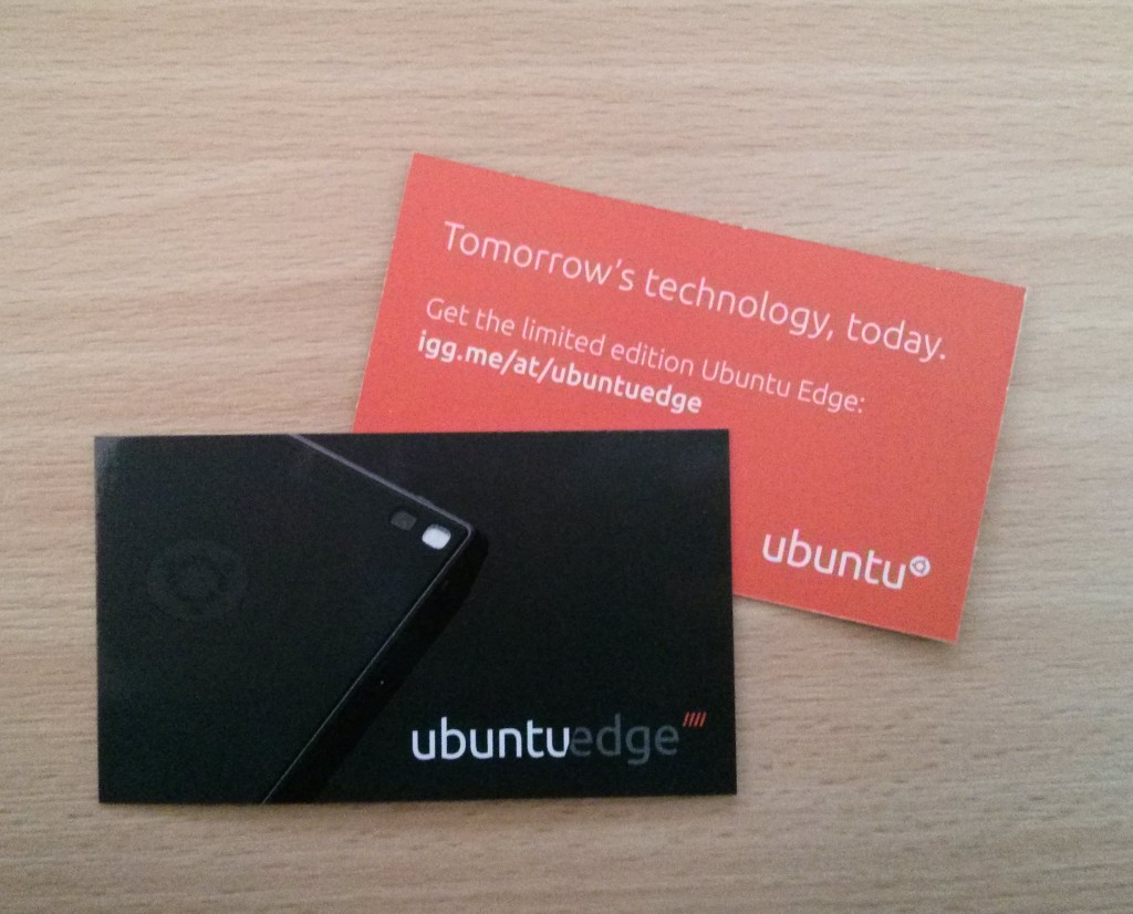 Ubuntu Edge promo cards