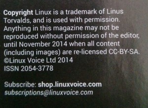 Linux Voice's Copyright notice, including an automatic re-licensing clause